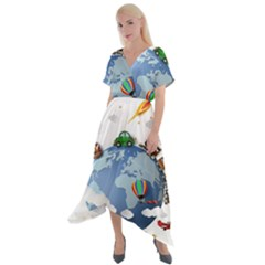 Earth Rocket Vector Earth Cross Front Sharkbite Hem Maxi Dress