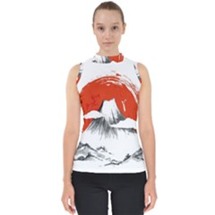 Mount Fuji Mountain Ink Wash Painting Mock Neck Shell Top