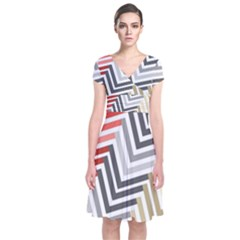 Abstract Colorful Geometric Pattern Short Sleeve Front Wrap Dress