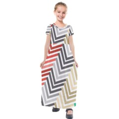 Abstract Colorful Geometric Pattern Kids  Short Sleeve Maxi Dress