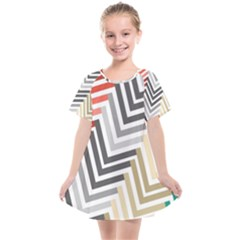 Abstract Colorful Geometric Pattern Kids  Smock Dress