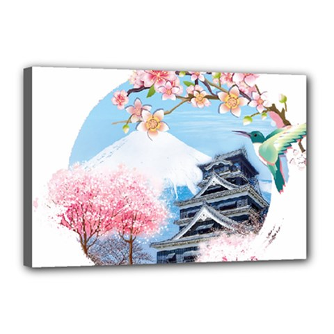 Japan National Cherry Blossom Festival Japanese Canvas 18  X 12  (stretched)
