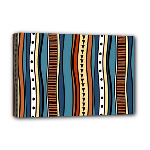 Stripes Hand Drawn Tribal Colorful Background Pattern Deluxe Canvas 18  X 12  (stretched)