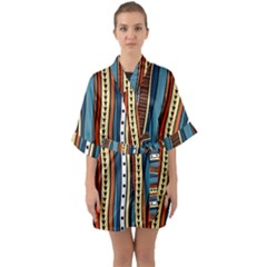 Stripes Hand Drawn Tribal Colorful Background Pattern Half Sleeve Satin Kimono  by Vaneshart