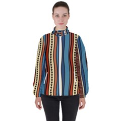 Stripes Hand Drawn Tribal Colorful Background Pattern Women s High Neck Windbreaker