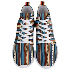 Stripes Hand Drawn Tribal Colorful Background Pattern Men s Lightweight High Top Sneakers