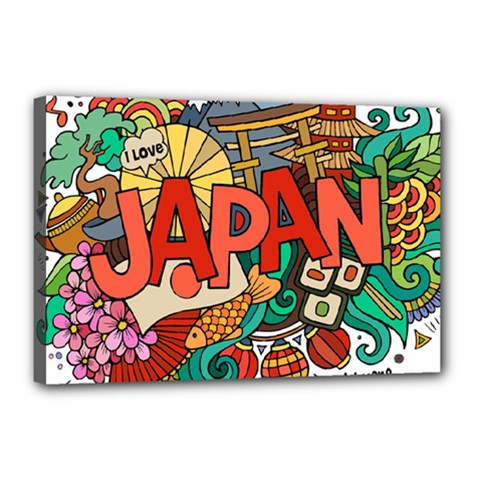 Earthquake And Tsunami Drawing Japan Illustration Canvas 18  X 12  (stretched)