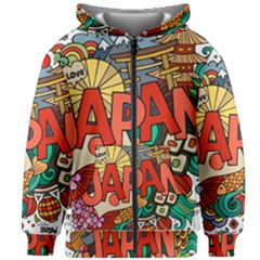 Earthquake And Tsunami Drawing Japan Illustration Kids  Zipper Hoodie Without Drawstring by Vaneshart