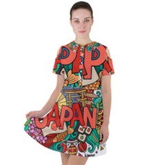 Earthquake And Tsunami Drawing Japan Illustration Short Sleeve Shoulder Cut Out Dress