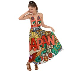 Earthquake And Tsunami Drawing Japan Illustration Backless Maxi Beach Dress by Vaneshart