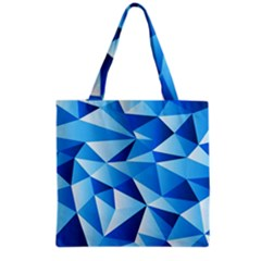 Triangles Abstract Blue Grocery Tote Bag by Vaneshart