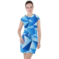Triangles Abstract Blue Drawstring Hooded Dress by Vaneshart