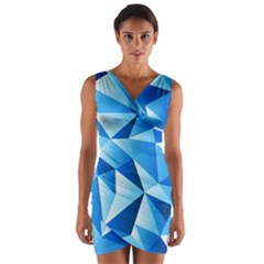 Triangles Abstract Blue Wrap Front Bodycon Dress