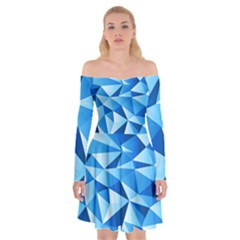 Triangles Abstract Blue Off Shoulder Skater Dress