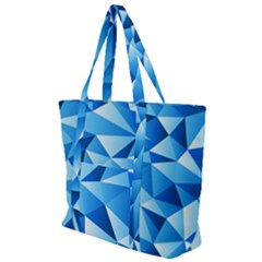 Triangles Abstract Blue Zip Up Canvas Bag