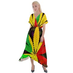 Cannabis Leaf Color Cross Front Sharkbite Hem Maxi Dress