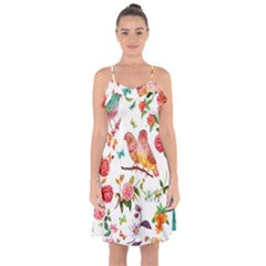 Watercolour Flowers Watercolor Painting Drawing Ruffle Detail Chiffon Dress