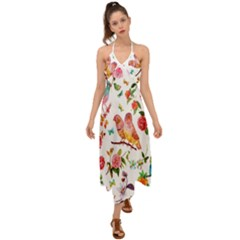 Watercolour Flowers Watercolor Painting Drawing Halter Tie Back Dress