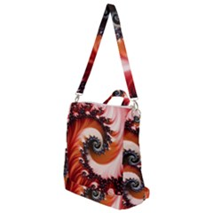 Abstract Fractal Patterns Red Crossbody Backpack