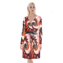 Abstract Fractal Patterns Red Long Sleeve Velvet Front Wrap Dress