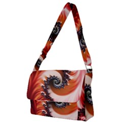 Abstract Fractal Patterns Red Full Print Messenger Bag