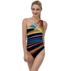 Lines Stripes Colorful Abstract Background Color To One Side Swimsuit