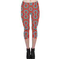 Seamless Geometric Pattern In A Red Capri Leggings