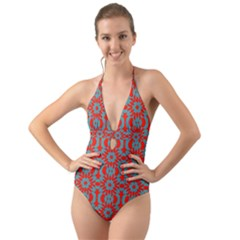 Seamless Geometric Pattern In A Red Halter Cut Out One Piece Swimsuit