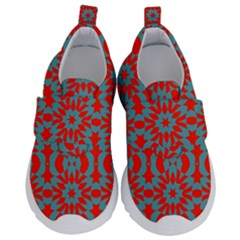 Seamless Geometric Pattern In A Red Kids  Velcro No Lace Shoes
