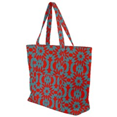 Seamless Geometric Pattern In A Red Zip Up Canvas Bag