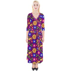 Flowers Patterns Multicolored Vector Quarter Sleeve Wrap Maxi Dress