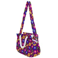 Flowers Patterns Multicolored Vector Rope Handles Shoulder Strap Bag