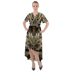Roots Abstract Sectors Layers Colors Front Wrap High Low Dress by Vaneshart