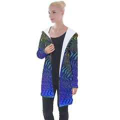 Abstract Circles Lines Colorful Longline Hooded Cardigan