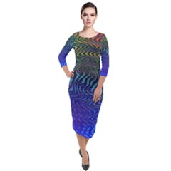 Abstract Circles Lines Colorful Quarter Sleeve Midi Velour Bodycon Dress by Vaneshart