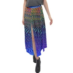 Abstract Circles Lines Colorful Velour Split Maxi Skirt by Vaneshart