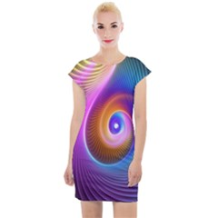 3d Abstract Fractal Bright Cap Sleeve Bodycon Dress