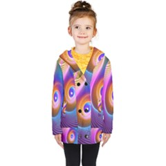 3d Abstract Fractal Bright Kids  Double Breasted Button Coat