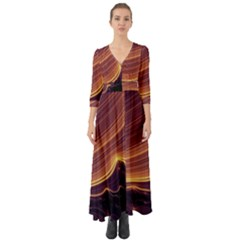 Lines Stripes Background Abstract Button Up Boho Maxi Dress