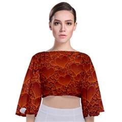 Heart Orange Texture Many Tie Back Butterfly Sleeve Chiffon Top