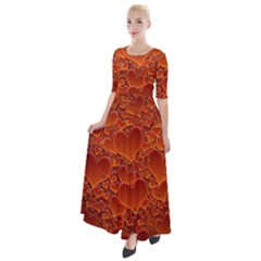 Heart Orange Texture Many Half Sleeves Maxi Dress