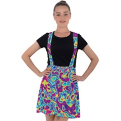 Ripple Motley Colorful Spots Abstract Velvet Suspender Skater Skirt