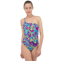 Ripple Motley Colorful Spots Abstract Classic One Shoulder Swimsuit