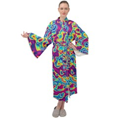 Ripple Motley Colorful Spots Abstract Maxi Velour Kimono by Vaneshart