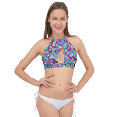 Ripple Motley Colorful Spots Abstract Cross Front Halter Bikini Top