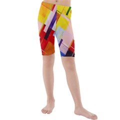 Abstract Lines Shapes Colorful Kids  Mid Length Swim Shorts