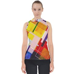 Abstract Lines Shapes Colorful Mock Neck Shell Top