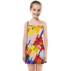 Abstract Lines Shapes Colorful Kids  Summer Sun Dress