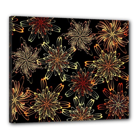 Patterns Abstract Flowers Canvas 24  X 20  (stretched)