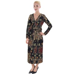 Patterns Abstract Flowers Velvet Maxi Wrap Dress